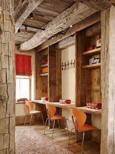 Kelly and Abramson Architecture: Rustic ski chalet playroom with individual kids workstations. Exposed wood beamed ...