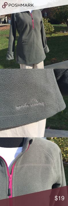 Eddie Bauer Fleece Pullover Snuggle up in this lightweight Grey half zip with fuscia zipper.  In excellent condition.  No stains, snags or rips.  Fabric:  💯% Polyester. Care:  Machine Wash & Dry.   Bust 22 Waist 21 Hips 22 Length 26.5.    🚫No Trades / No PayPal. 🏡Clean, Non Smoking Home.  🎁I Ship Same Day!!! 🤗 Eddie Bauer Tops Sweatshirts & Hoodies