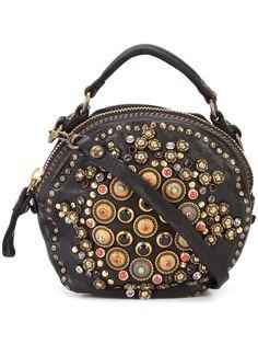 Campomaggi round embellished shoulder bag Black Leather b908deb99b04c