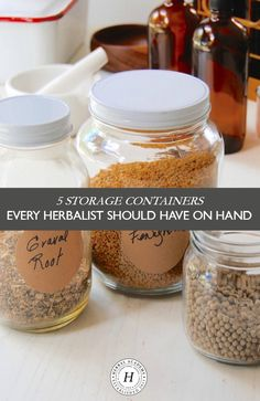 5 Storage Containers Every Herbalist Should Have On Hand - Good storage containers are an essential tool for organizing herbs and herbal preparations made from your favorite recipe, the garden, or a foraging adventure. Take a look at 5 types of storage containers for every herbalist to have on hand that will help you stay organized no matter what you have brewing in your apothecary!