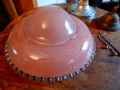Vintage Frosted Pink Candlewick Glass Ceiling Light Shade Boopie Hobnail UFO