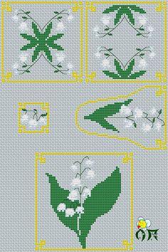Pattern for cross stitch  Aida 14, blue    DMC palette , 9 colors + blends embroidery technic : cross, bekstich, 3/4