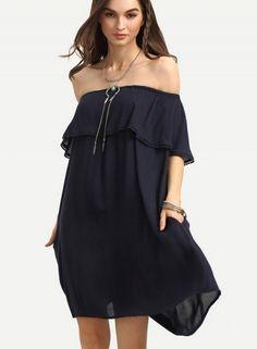 off Shoulder Short Sleeve Ruffle Mini Dress