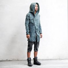 SPATE JACKET  Gray Green Men's Trenchcoat  Hand by HeathenClothing