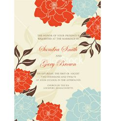 Floral wedding invitation card vector by ARNICA on VectorStock®