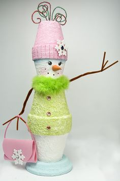 Snowgirl out of painted pots...too cute!