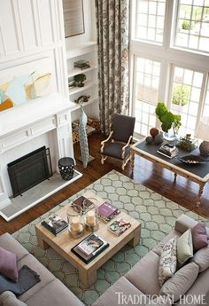LOVE THR FLOOR TO CIELING DRAPES…MAKES THE ROOM MORE COMPYxoxoxoshray Colorful Showhouse Rooms   Traditional Home