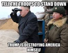 Stand down...Trump is destroying America all by himself.