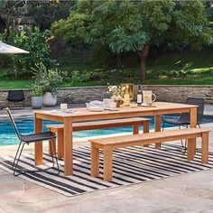 Concrete Outdoor Dining Table, Wood Dining Bench, Round Wood Dining Table, Expandable Dining Table, Patio Dining, Patio Table, Outdoor Tables, Dining Room, Dining Tables