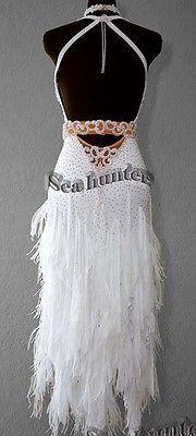 Ballroom white Cha Cha Latin Rhythm Salsa US6 Dance Dress#L2304 Competition