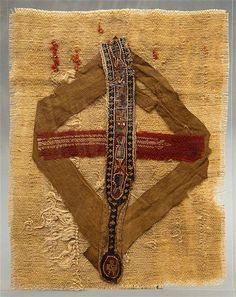 6th century, Coptic Egypt, Clavius woven linen, wool and cotton decorated with stylized fish in a small border cross
