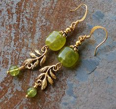 Autumn Leaf Earrings, Lime Green Jade Jewelry, Gold Leaf, Dangly, Fall. $18.00, via Etsy.