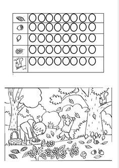 Herfst, tellen, kleurplaat, kleuters