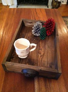 This beautiful dark stained reclaimed wooden tray can be used to serve your loved one breakfast in bed, to store your favorite items or to add