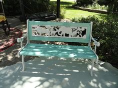 A children's outdoor bench