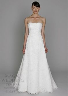 Embroidered Lace Strapless Wedding Dress