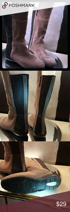 Sudini boots Suede leather below knee boots with woven black back detail. These run small...ordered a 9 1/2 to fit 8 1/2. Small scuffs on left boot. sudini Shoes Winter & Rain Boots