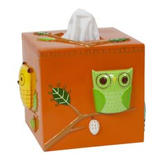 Features:  -Give a Hoot collection.  -Material: Ceramic.  Product Type: -Tissue box cover.  Finish: -Orange.  Primary Material: -Ceramic.  Mount Type: -Freestanding.  Life Stage: -Youth. Dimensions: