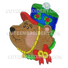 This free embroidery design from Cute Embroidery is a bear.