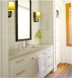 Sconces in the bathroom...always a good idea:)