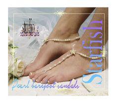 Barefoot sandals beach, barefoot beach, barefoot sandle, starfish, nautical, tropical, ocean, wedding, bridal, beach, STARFISH pearl, barefoot sandals   BF23
