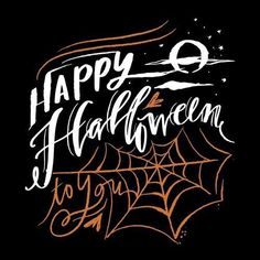 Halloween-themed art featuring hand-lettering and halloween symbols on black background. Happy Halloween Wall Art by Lindsay Sherbondy from Great BIG Canvas. Fröhliches Halloween, Halloween Symbols, Halloween Letters, Halloween Canvas, Halloween Prints, Halloween Signs, Halloween Themes, Halloween Birthday, Birthday Fun