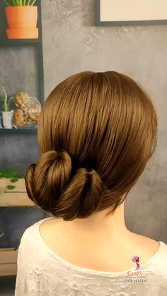 Simple Hair Updos, Bun Hairstyles For Long Hair, Pretty Hairstyles, Braided Hairstyles, Hair Up Styles, Medium Hair Styles, Grey Hair Care, Hair Tutorials For Medium Hair, Hair Videos