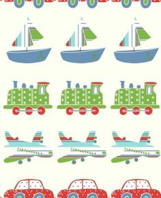 Vroom Vroom (10771) - Albany Wallpapers - Vroom vroom kids wallcovering. A horizontal chain of planes, trains, cars and boats, ideal for any boys bedroom. Shown in red, blue and green. Please request a sample for true colour match.