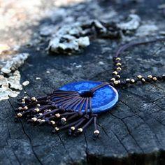 Kerámia nyaklánc - ragyogó kék, bronzarany rojtokkal, Ékszer, óra, Medál, Nyaklánc, Meska