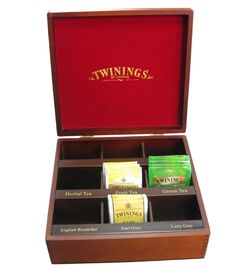 Twinings wooden tea box ... compartmented to hold different types of teas or teabags, with labels and red lining, c. 2010s, UK