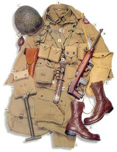 t., 82nd Airborne, Sicilly, 1943 01 - M2 helmet with camouflage net 02 - M1942 jacket 03 - M1942 trousers 04 - M1934 wool shirt 05 - boots 06 - M1936 main belt with M1916 holster for the Colt M1911 pistol 07 - M1936 webbing 08 - M1A1 carbine 09 - M2A1 gas mask 10 - M1910 folding shovel 11 - M1942 canteen 12 - M1910 bag 13 - dog tags 14 - M1918 Mk I knife 15 - M1936 backpack