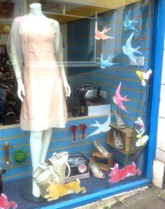 Looking peachy and spring-like in our Frome charity shop window #charityshop #frome