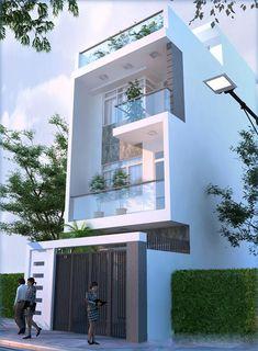 New Flooring Ideas Modern Architecture 19 Ideas 3 Storey House Design, Bungalow House Design, House Front Design, Small House Design, Modern House Design, Narrow House Designs, Cool House Designs, Model House Plan, Home Building Design