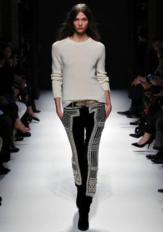 Balmain, the guy is genius. Cream crew neck sweater loosely tucked into black embroidered pants on Karlie Kloss. What part of that sentence doesn't make you swoon.