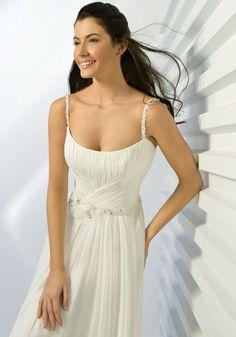 A-line Scoop Neck Beaded Straps and Waistband Chiffon Wedding Dress-wa0052, $239.95