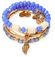Deep Sea Conch Shell Expandable Wire Bangle Bracelets (Set of 3)