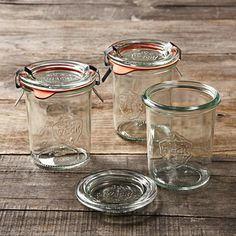 Weck glass canning jars have been a mainstay in European kitchens since the when German merchant Johann Weck pioneered the science of water-bath canning. Weck jars are still a reliable favorite of European home cooks for preserving and stor… Weck Jars, Canning Jars, Mason Jars, Crate And Barrel, Canning Supplies, Kitchen Supplies, Kitchen Goods, Kitchen Stuff, Kitchen Tips