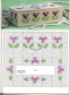 FLORAL HEARTS TISSUE BOX COVER by RUBY THACKER 2/2 - FROM 101 TISSUE TOPPERS IN PLASTIC CANVAS