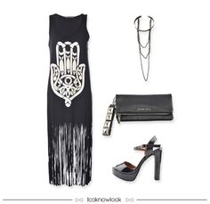Vestido Hamsã Franjas + Gargantilha Choker + Clutch com Spikes + Sandália Verniz #moda #look #outfit #looknowlook