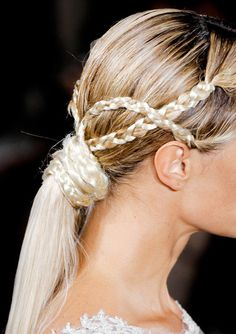 Side #braids knotted around a ponytail #Hair #Style #Trend for Spring Summer 2013.  Marchesa Spring Summer 2013.