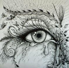 Intuitive drawing: Cry a little river/drawing design/wall art/spiritual art/intuitive art/Healing – Art Sketches Art Drawings Sketches, Cool Drawings, Pencil Drawings, Eye Drawings, Tattoo Drawings, Gif Kunst, River Drawing, Realistic Eye Drawing, Wow Art