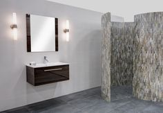 Contemporary Vanity and Mosaic Walk in Shower