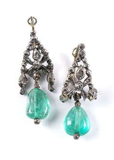 A pair of French emerald and diamond earrings, 2nd half of 18th ct.