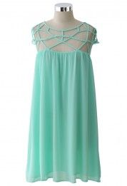 Mint Blue Cage Chiffon Dress Top