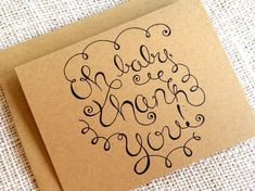Baby Shower Thank You Card Set of 10 - Gender Neutral Baby Shower Thank You Notes - Simple Hand Lett Baby Thank You Cards, Thank You Notes, Happy Design, Keep It Simple, New Baby Gifts, New Baby Products, How To Draw Hands, Logo Design, Unique Jewelry
