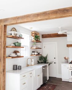 RENOVATION REVEAL: South Street Kitchen Happy Friday Everyone! Though we're always excited for the weekend, we are even more excited to share the reveal of the South Street kitchen renovation project with you! Home Decor Kitchen, Interior Design Kitchen, New Kitchen, Home Kitchens, Kitchen Ideas, Tiny Kitchens, Kitchen Hacks, Open Shelf Kitchen, Galley Kitchen Design
