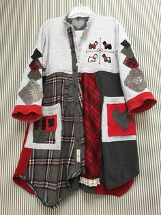 My New Original Scottish Terrier Appliqué Art Design! Upcycled Patchwork Sweater Sweatshirt Jacket Coat Scotties and Westies Appliqués and Embroidered Art to wear Oversized Gray Red Plaid Flannel Sweatshirt Cardigan I added 2 big Front Artsy Pockets I made an Adorable Scottish