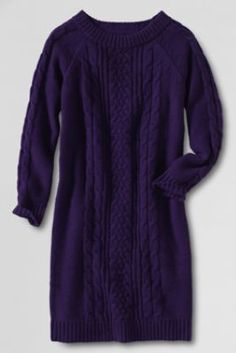Girls' Cable Sweater Dress from Lands' End
