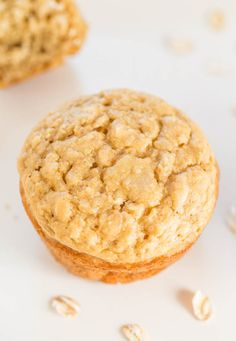 Skinny Oatmeal Brown Sugar Muffins - No oil, butter, or dairy, and just 1/4 cup brown sugar in the entire batch! Healthy, skinny AND yummy!!