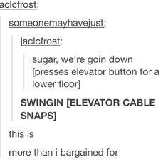 Hahahahahaha. I will do this.. minus the cables snaping. I will prob just jump all around. :3